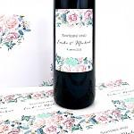 Etiketa na svatební víno 0,7l - jarní kytice