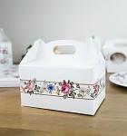 Krabička na výslužku s ouškem malá - květinový rám