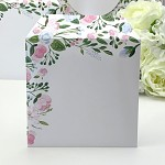 Obálka barevná čtverec - bílá - mátovo-růžové květy