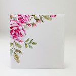 Obálka barevná čtverec - perleťová bílá- růžové růže