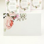 Obálka barevná  - přírodní bílá  - pastelové květy