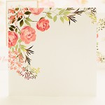 Obálka barevná čtverec - přírodní bílá - květiny