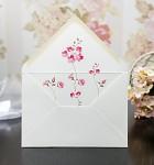 Obálka barevná  - světle krémová  - vnitřní potisk -růžové květinky