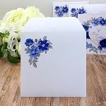 Obálka barevná čtverec - bílá - modré květy