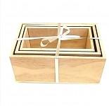 Dřevěné bedýnky přírodní - sada 3ks - malé