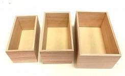 Dřevěné bedýnky přírodní - sada 3ks - velké