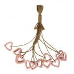 Srdíčko dřevěné na provázku - růžové duté - 1ks