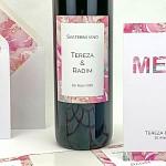 Etiketa na svatební víno 0,7l - akvarelová kresba květin