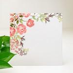 Obálka barevná čtverec - bílá - květinový motiv