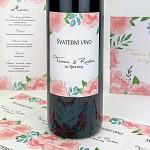 Etiketa na svatební víno 0,7l - akvarelové pivoňky