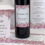 Etiketa na svatební víno 0,7l - květy pivoněk