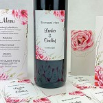 Etiketa na svatební víno 0,7l - růže s ornamenty