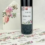 Etiketa na svatební víno 0,7l - pastelové květy