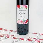 Etiketa na svatební víno 0,7l - růže s pivoňkami