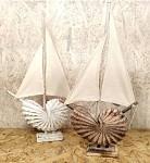 Loď s dřevěnou mušlí - bílá 50 cm