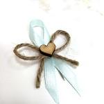 Svatební mašličky se srdíčkem a jutou - mátové
