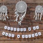 Girlanda papírová bílá s pivoňkami - vlaječky - Vítejte na naší svatbě