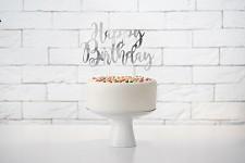 Napichovátko - stříbrné - happy birthday -1ks