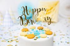 Napichovátko - zlaté - happy birthday -1ks