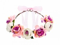 Květinový věneček pro družičku - růžový