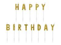 Narozeninové svíčky zlaté - happy birthday