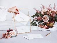 Skleněná truhla zlatá - na přání a dary - 21 cm