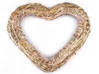 Slaměné srdce - přírodní - 25 cm