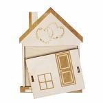Dřevěná dárková kapsa na peníze - domeček