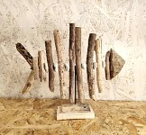 Kostra ryby dřevěná - klacíky- na stojánku