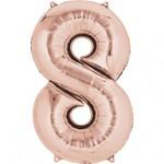 Foliový balonek mini  - číslo 0 - 9  - růžovo-zlaté