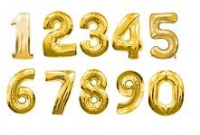 Foliový balonek mini 35 cm  - číslo 0 - 9 - zlatý