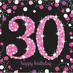 Ubrousky černo-růžové - 30. narozeniny
