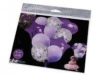 Sada nafukovacích balonků s konfetami - fialové - 10 ks