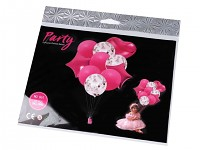 Sada nafukovacích balonků s konfetami - růžové - 10 ks