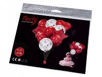 Sada nafukovacích balonků s konfetami - červené - 10 ks
