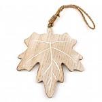 Dřevěný javorový list podzim - závěs - 11 cm
