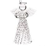 Skleněný anděl s matnou sukní - 8 cm