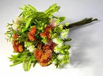 Kytice lučních květů ze zelení - oranžová