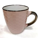 Keramický hrnek sv.růžový - zlaté ouško - 200 ml