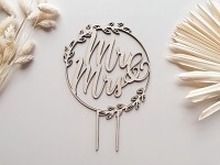 Dřevěný zápich - Mr and Mrs v kruhu