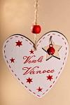 Dřevěné srdíčko Veselé Vánoce 7 cm -  bílé