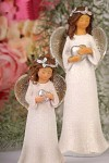 Anděl glitter se srdíčkem  - 14cm