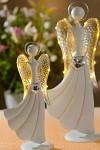 Anděl plechový svítící - stříbrný s rozevlátou sukní - 32 cm