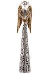 Anděl plechový - stříbrno - zlatý - svícen 36 cm