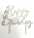 Dřevěný zápich do dortu - Happy birthday