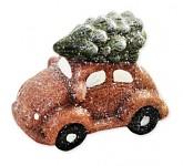 Vánoční autíčko - brouk - hnědé stromkem - 6,5 cm