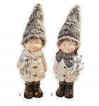 Děti zimy vysoké hnědé s čepicí - 21 cm