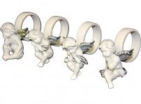 Kroužek na ubrousky - bílý anděl se stříbrnými křídly
