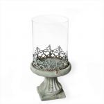 Svícen betonový šedý antik se skleněným cylindrem - 22 cm