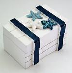Dřevěná krabička námořní motiv - 20 x 14 x 5,5 cm
